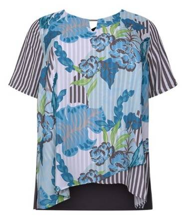 Via Appia Due - T-shirt met vooraan voile in print (820351)