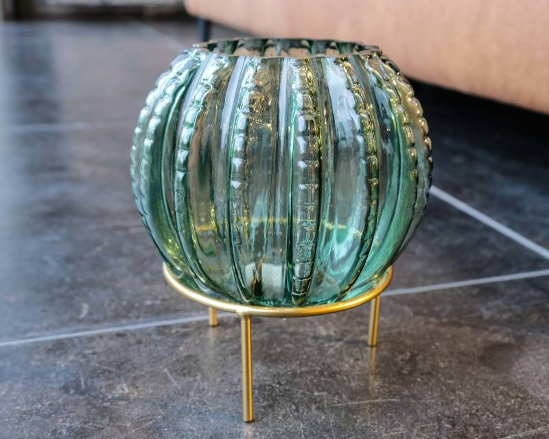PTMD Normandy green cactus Glass vase on gold stand L