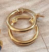 RVS - Oorbel set Ring 15mm Goud