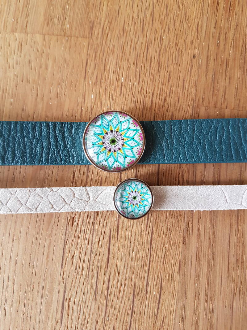 SALE - Set 8 & 15mm Leren Armband Fantasie Bloem