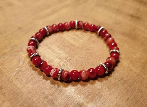Ruby Red-White Glas met DQ Zilver 6mm