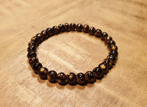 Stone Brown-Gold Glaskraal 6mm