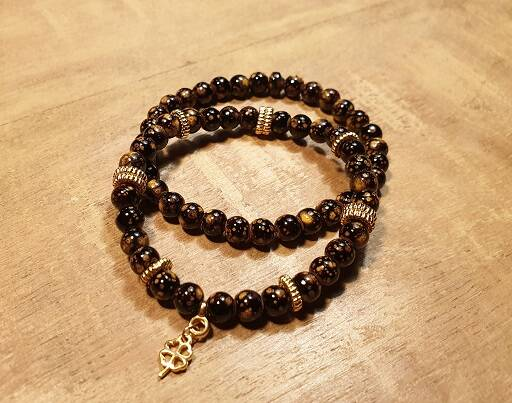 Set Stone Brown-Gold Glas met DQ Gold 6mm