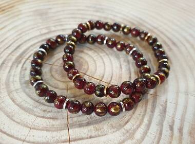 Classic Bordeaux Red Gold Jade 6mm - Zilver  of Goud