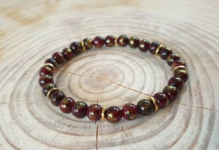 Gold - ClassicBordeaux RedGold Jade 6mm
