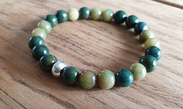 Natuursteen Jade Olive Green Mix met RVS 8mm