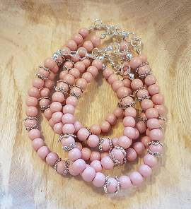 Oud Rose met Beadkap Glaskraal 6mm