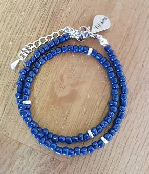 Dubbele Armband Donker Blauw - Ook als ketting