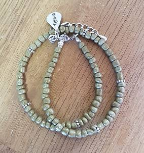 Dubbele Armband Olive Green - Ook als ketting