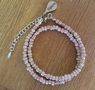Dubbele Armband Vintage Roze - Ook als Ketting