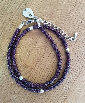 Dubbele Armband Paars - Ook als ketting