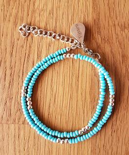 Dubbele Armband Licht Blauwe - Ook als ketting