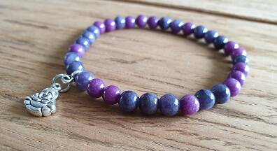 Natuurkraal Purple mix met DQ bedel 6mm