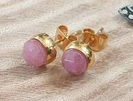 RVS - Strawberry Quartz Stekers set Goud