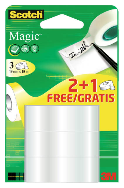 Onzichtbaar plakband Scotch Magic 19mmx15m 2+1 gratis