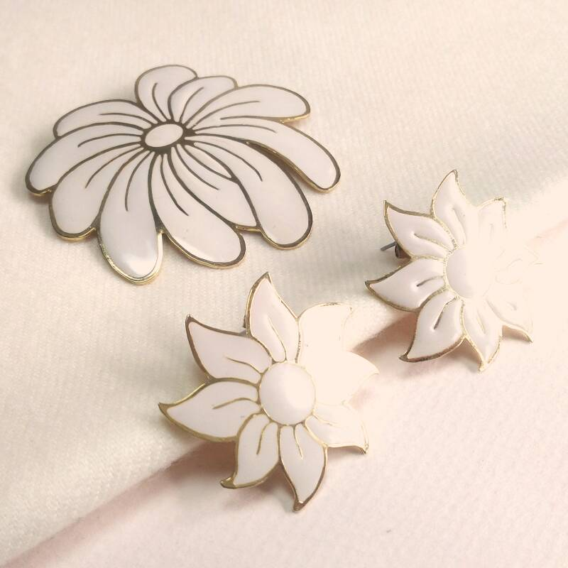 Emaille bloem set 60s