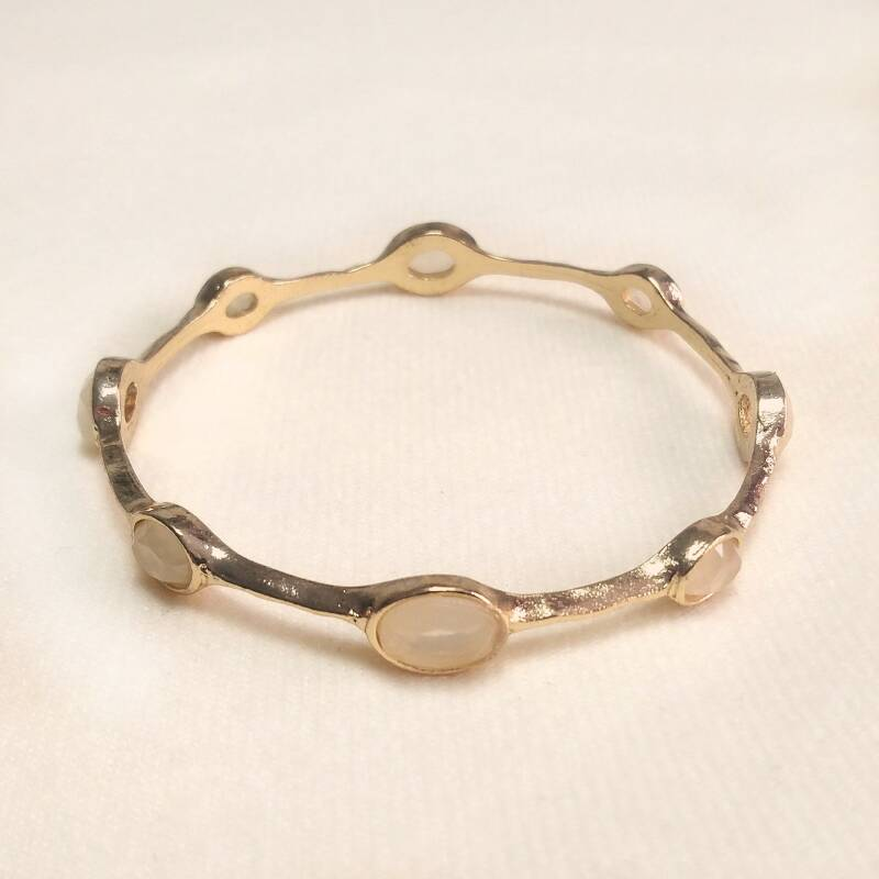 Vergulde champagne bangle armband 80s