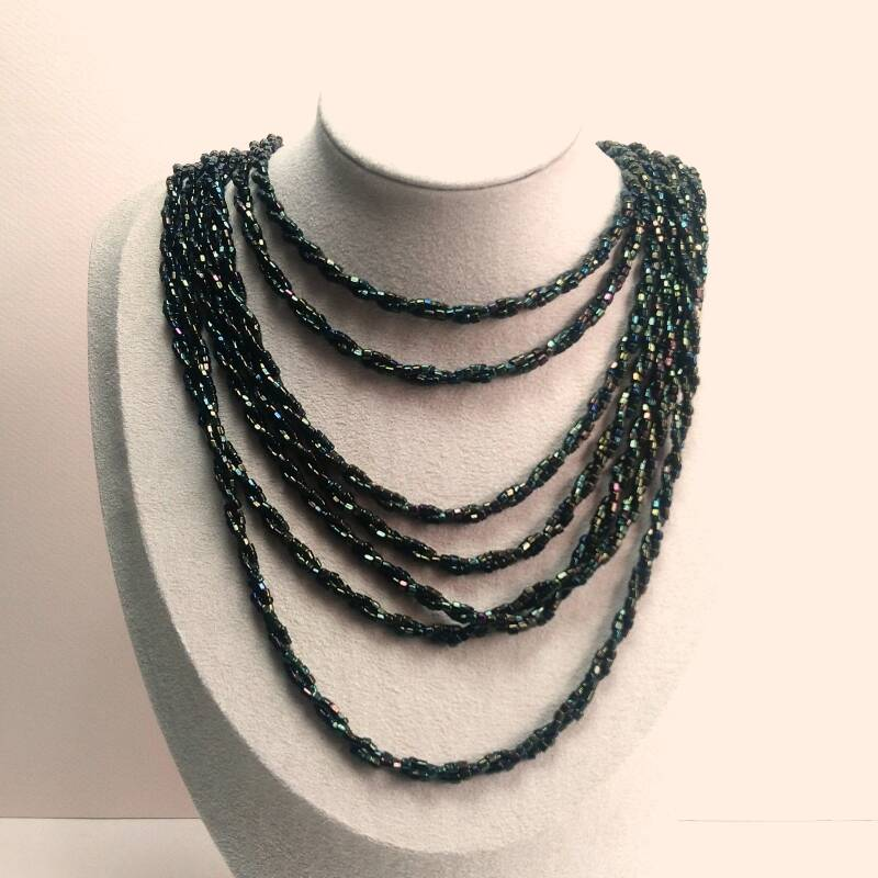 Multistring rocaille ketting 80s