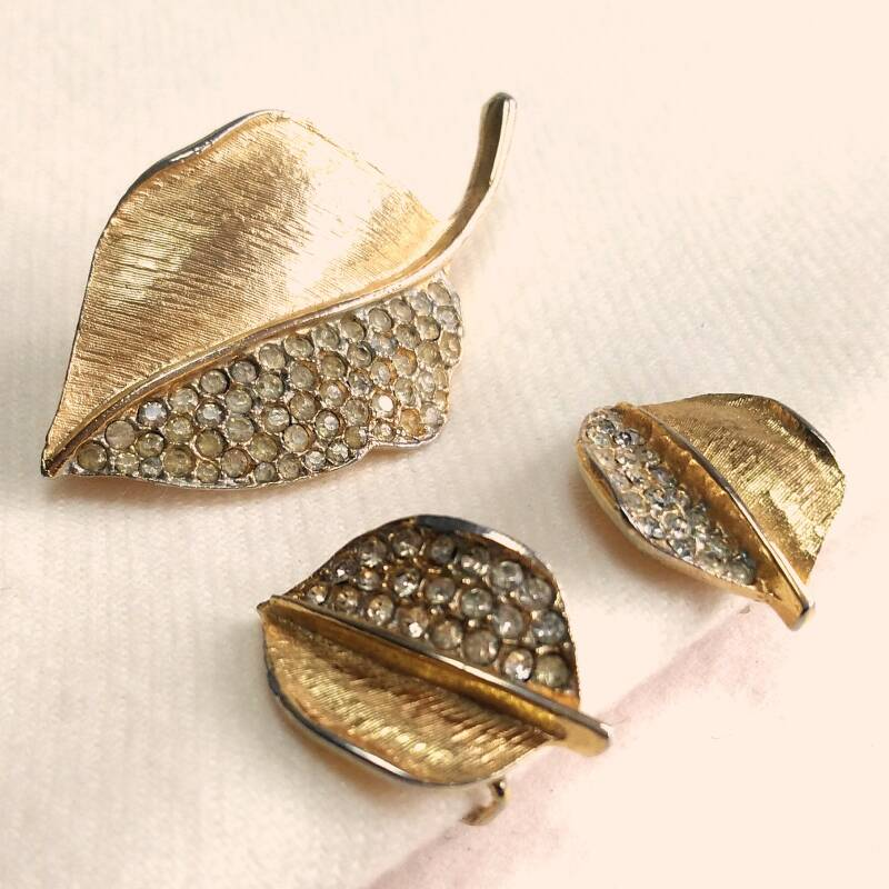 Vergulde strass blad set 60s
