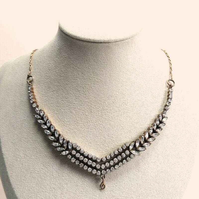 Laurier strass ketting 70s