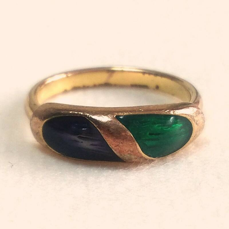 Vergulde emaille ring 70s