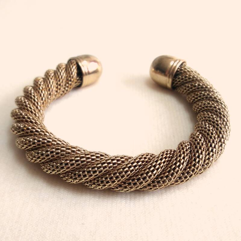 Gouden twisted mesh armband 80s