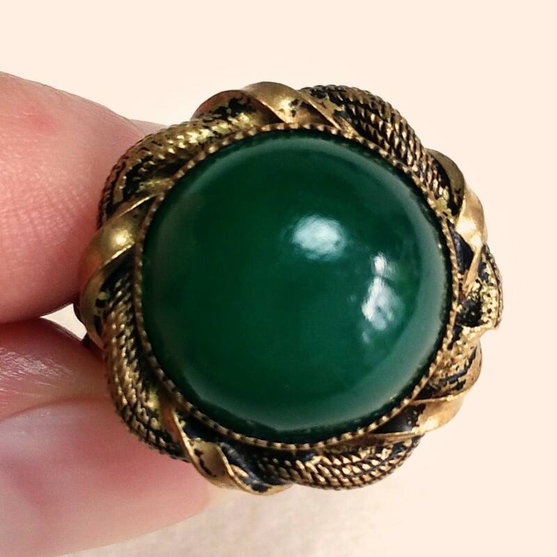 Groene messing ring 60s - one size