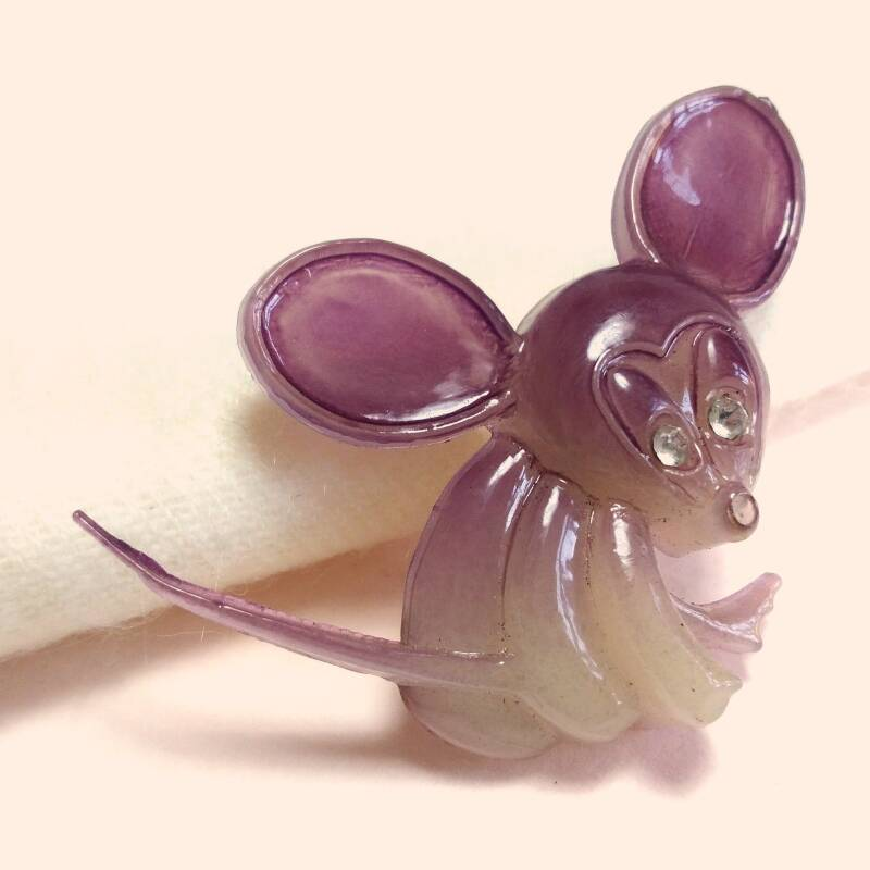 Paarse muis broche 70s