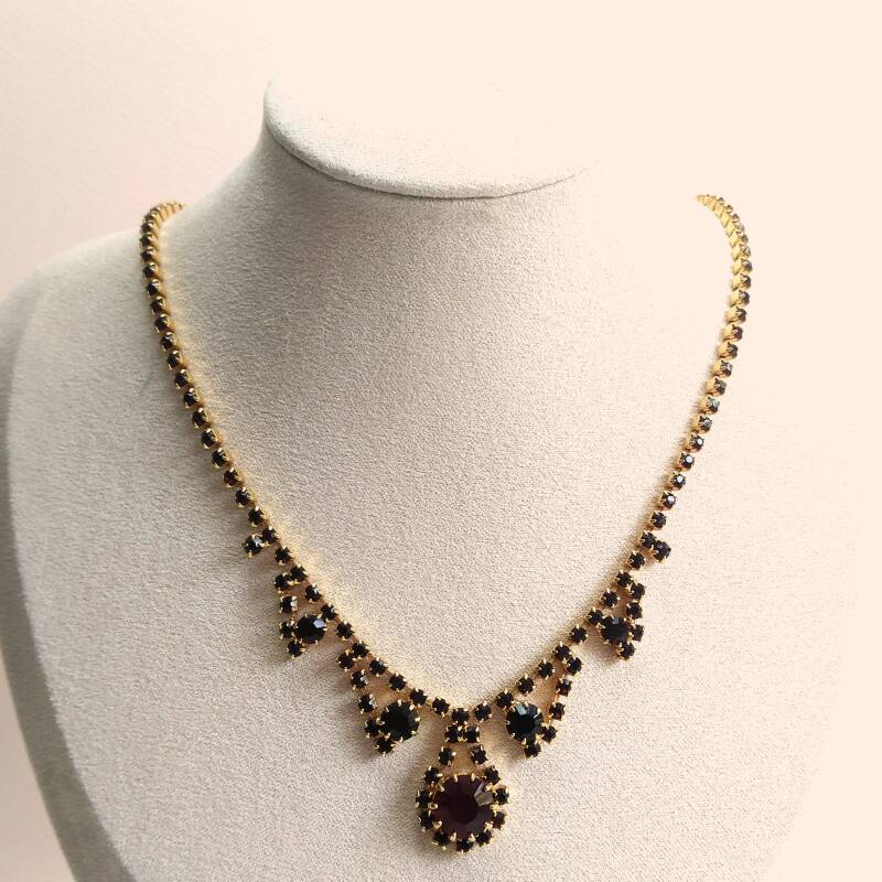 Bordeaux strass ketting 60s