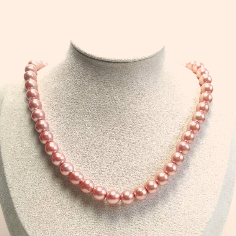 Ronde roze glasparel ketting 50s