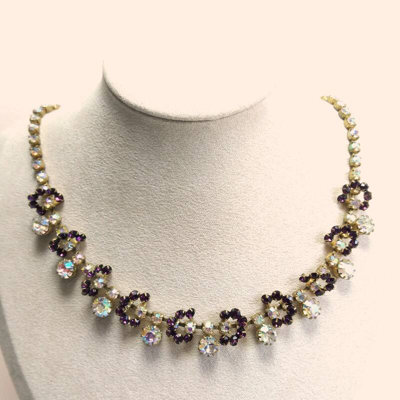 Paarse AB strass ketting 50s