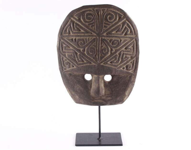 Carved Mask On Stand   M