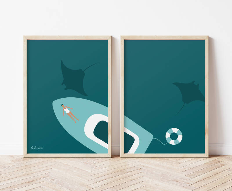 Manta Ray Art Print Set