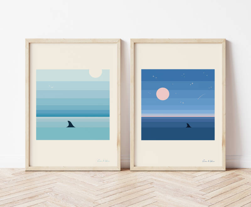 Shark Fin Art Print Set