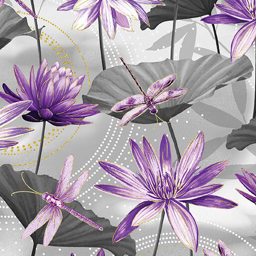Dragonfly Dance - Waterlily Pool - Gray Purple