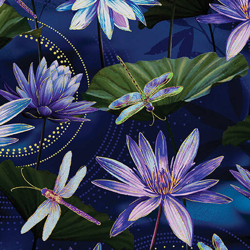 Dragonfly Dance - Waterlily Pool - Cobalt Blue