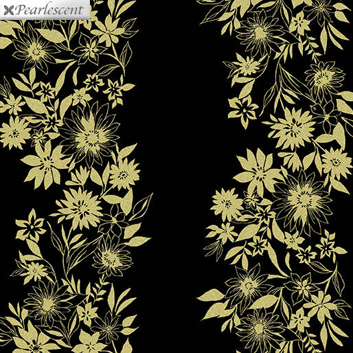 Shimmer And Shine - Shimmery Flower Stripe - Gold