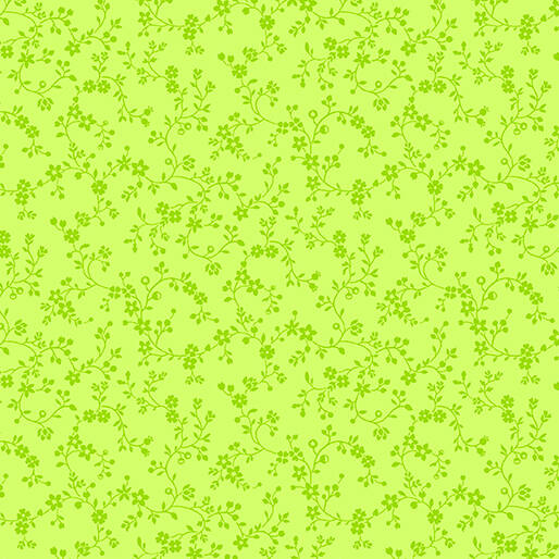 Color Theory - Flowery Vines - Lime Green