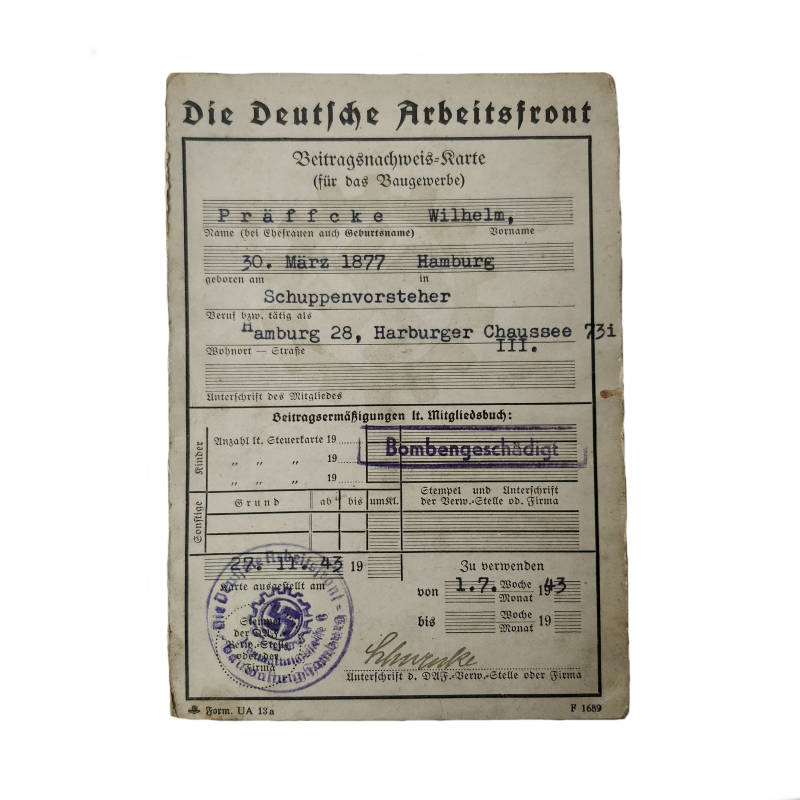 WWII Duits document Arbeitsfront