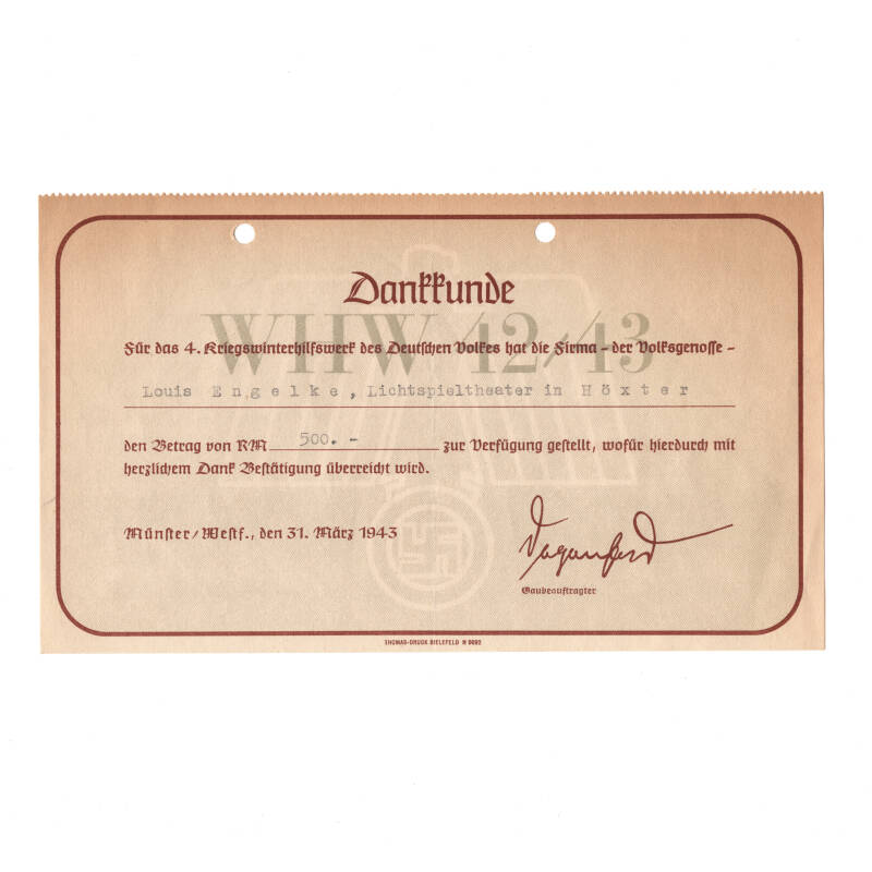 WWII Duits WHW document