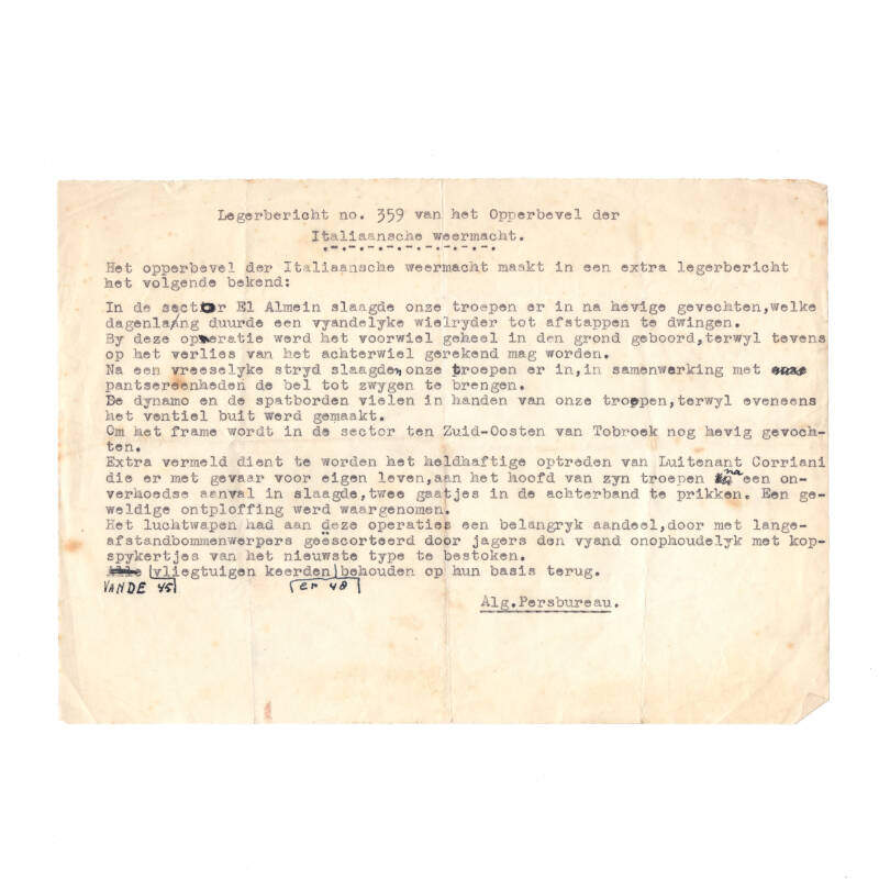 WWII Nederlands document Italiaans front