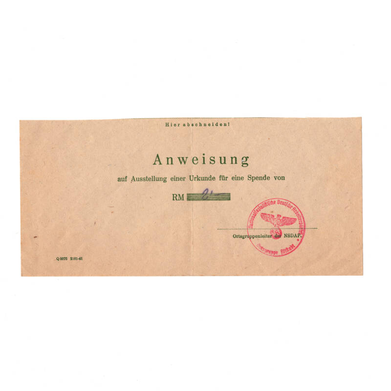 WWII Duits document WHW
