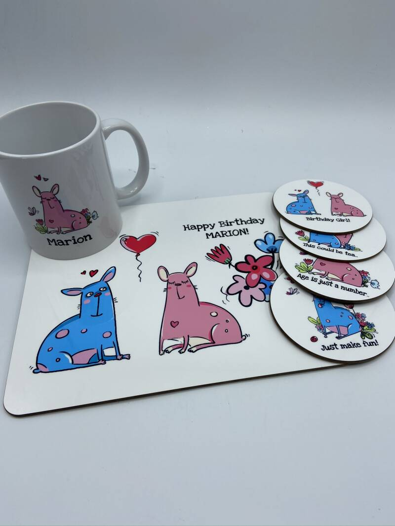 Placemat hout Happy Birthday