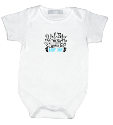 Rompertje Welcome to the world baby Boy ( Serie 3 D )