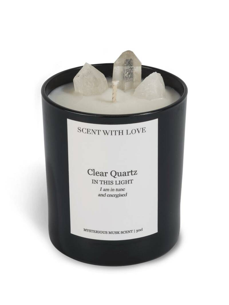 Clear Quartz Candle Black   Scent With Love
