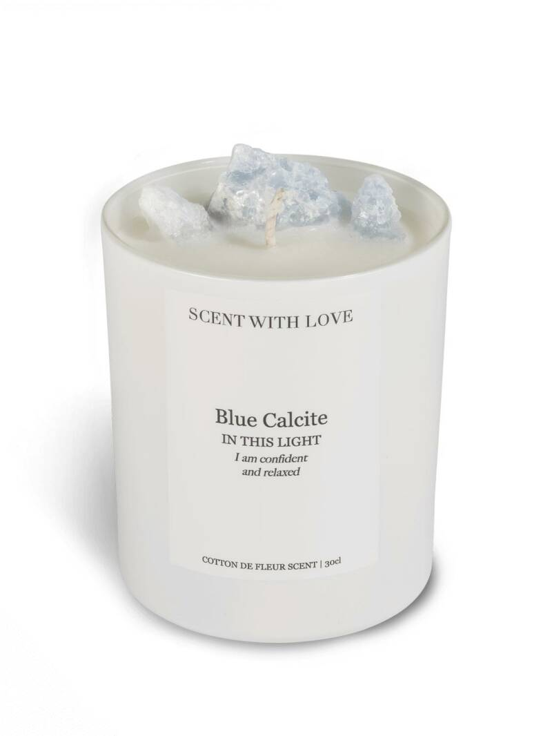 Blue Calcite Candle White | Scent With Love