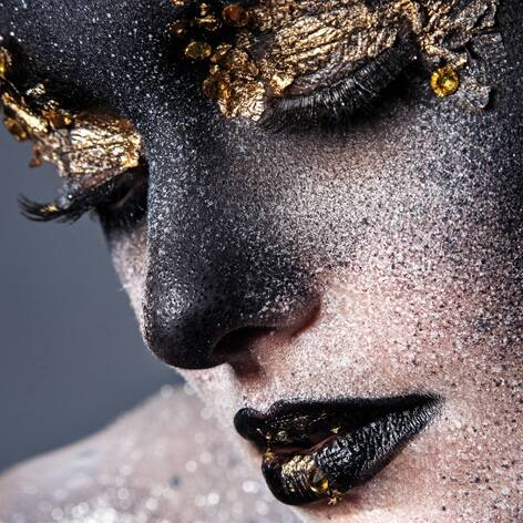 Plexiglas Gril Black gold face
