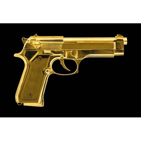 Aluart isolated golden pistol