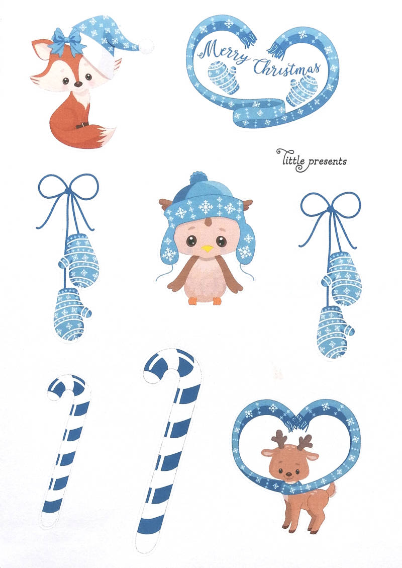 Stickers Kerst Critters Blauw