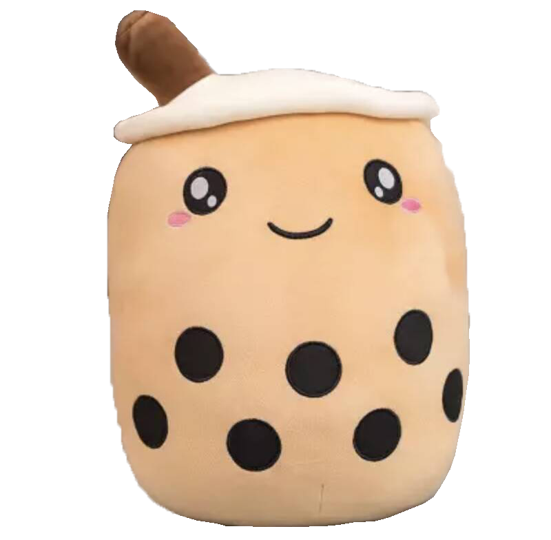 Bubble Tea Boba | Plushy Knuffel | Brown/White | 24/35/50 cm